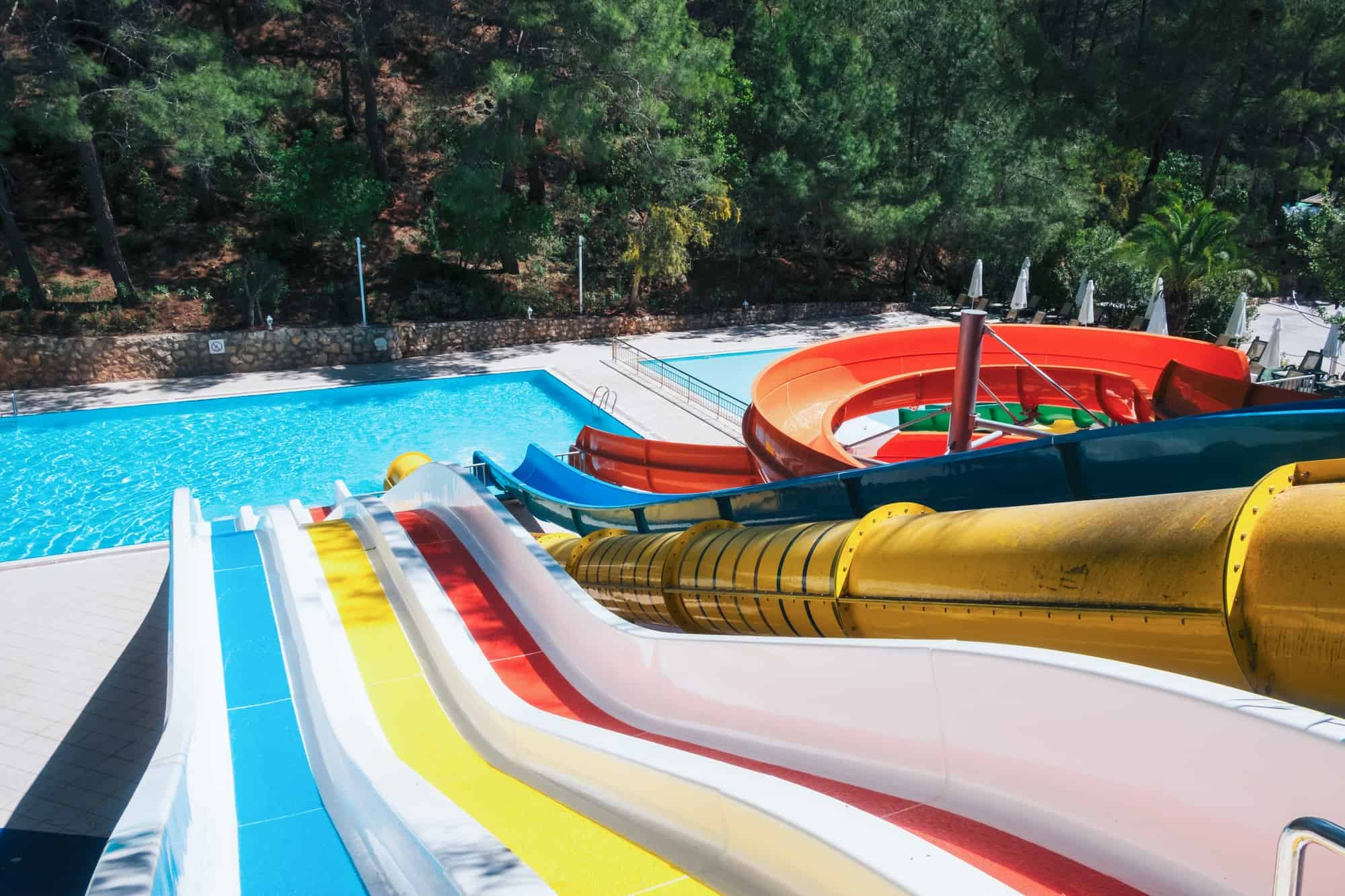 colorful aquapark in green forest