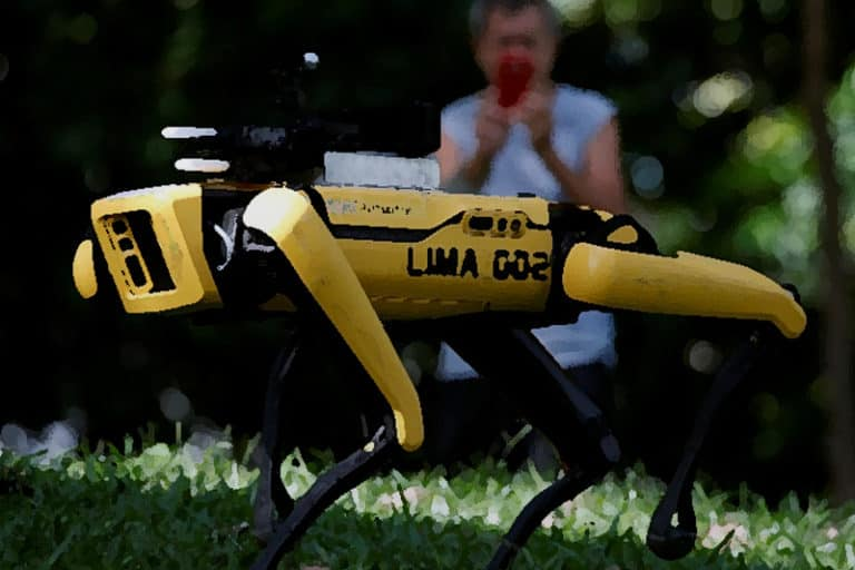 """A """"Robo-Dog"""" Is Reminding Singapore to Keep Its Distance"""