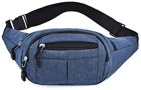 heavKin Men's and Women's Oxford Sport Fitness Waist Pack -Fanny Pack with 3-Zipper Pockets, Waist Bag Travel -Adjustable Belt for Workout Vacation Hiking