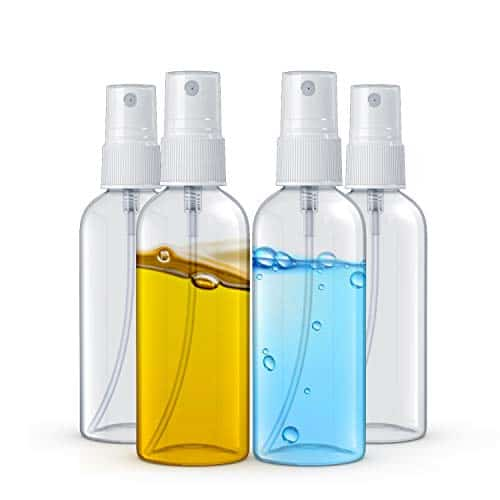 Asombrose 2 oz/60ml Small Empty Spray Bottle Pack of 4 for Cleaning Solutions, Essential Oils and Liquid – Reusable Portable Clear Fine Mist Plastic Bottles