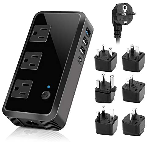 2300W Voltage Converter 220V to 110V Universal Travel Adapter/Power Converte with 3 USB Ports 3 AC Outlets 1 Type-C in EU/UK/AU/US/IT/South Africa More Than 150 Countries Over The World