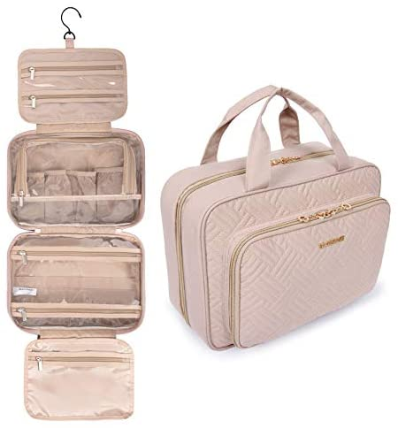 BAGSMART Toiletry Bag Hanging Travel Makeup Organizer with TSA Approved Transparent Cosmetic Bag Makeup Bag for Full Sized Toiletries, Large-Pink