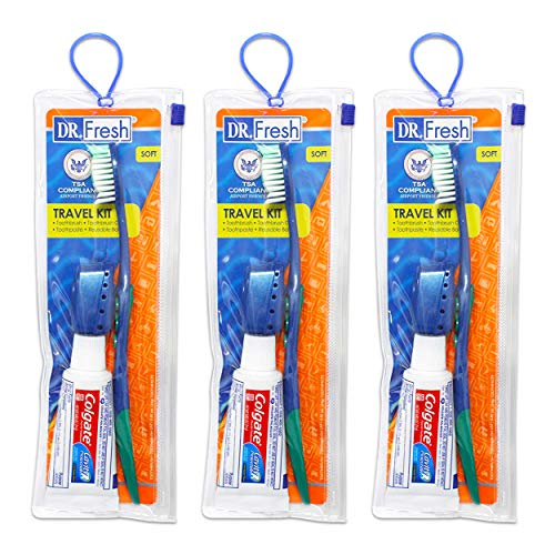 Toothbrush Travel Kits for Adults Teens Kids ~ 3 Pack Travel Size Toiletries Bundle Includes Toothbrush, Cover, Toothpaste, and Travel Bag