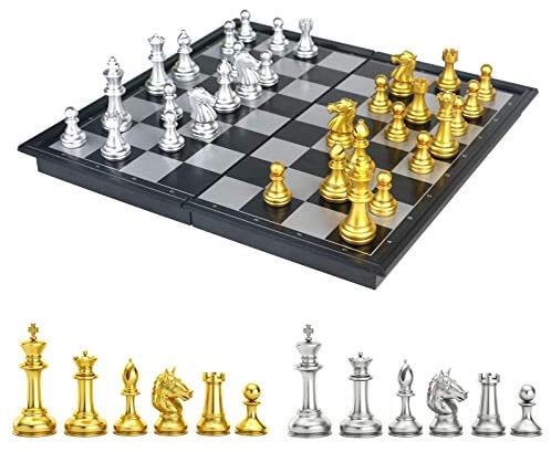 Magnetic Chess Set for Kids Adults,Magnetic Chess Board Folding Portable Travel Games Educational Kids Toys for Girls Boys (Golden & Silver)