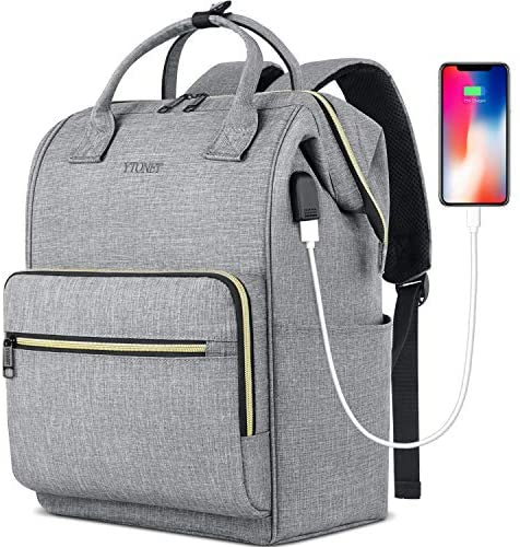Laptop Backpack for Women Men, Travel Backpack for 15.6 Inch Laptop with RFID Pocket USB Charging Port Water Resistant Durable Carry on Bag, College School Backpack Purse for Office Teacher Work, Grey